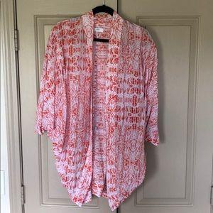 Mikoh Orange Silk Fiji Caftan Kimono Coverup